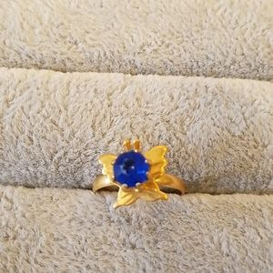 Butterfly ring with blue stone